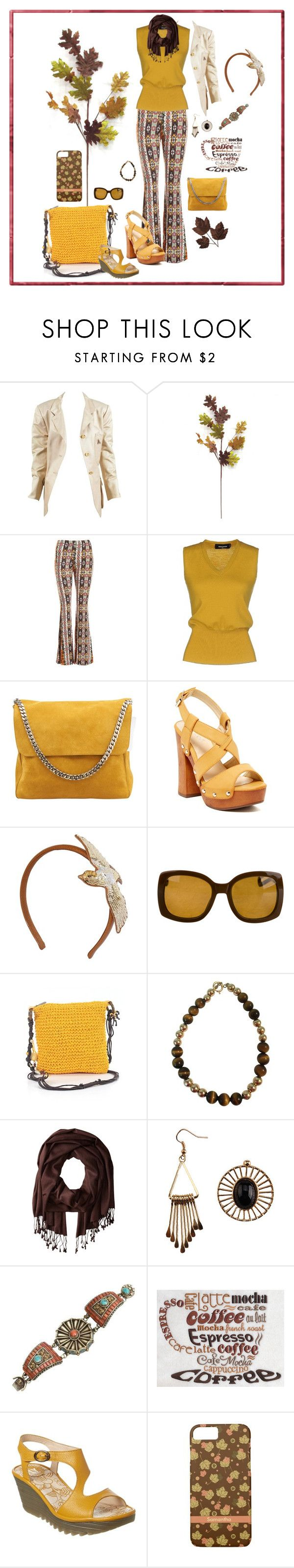 """Cute Gold Brown Aztec Pant Outfit"" by fsg-designs ❤ liked on Polyvore featuring Hermès, Sans Souci, Dsquared2, CÉLINE, Bucco, RED Valentino, Yves Saint Laurent, Sun N' Sand, Betsey Johnson and Fly LONDON"