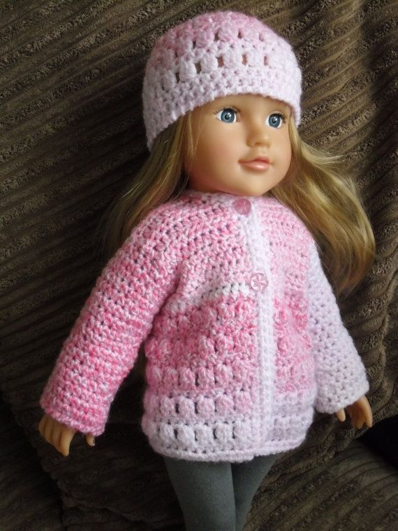 Crochet pattern for jacket and hat for 18 inch doll by petitedolls, £2.50
