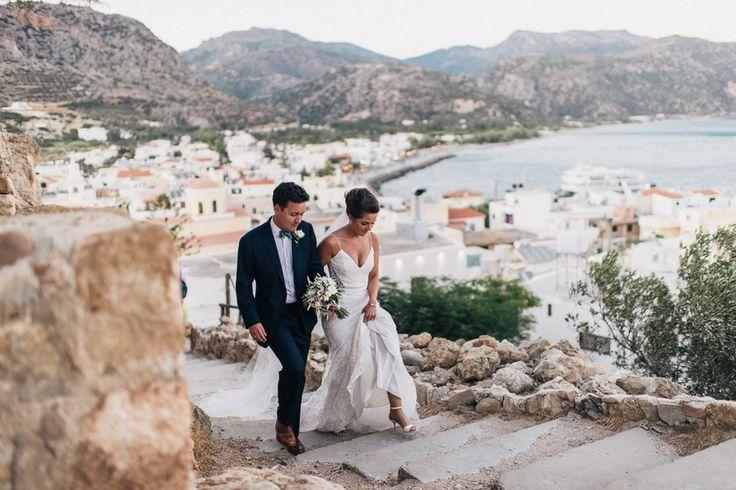Greek Orthodox Wedding, Southern Crete | Crete for Love. Wedding portrait with sea view