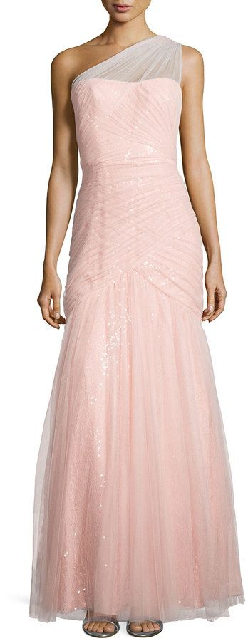 ML Monique Lhuillier One-Shoulder Sequined-Lace Tulle-Overlay Gown