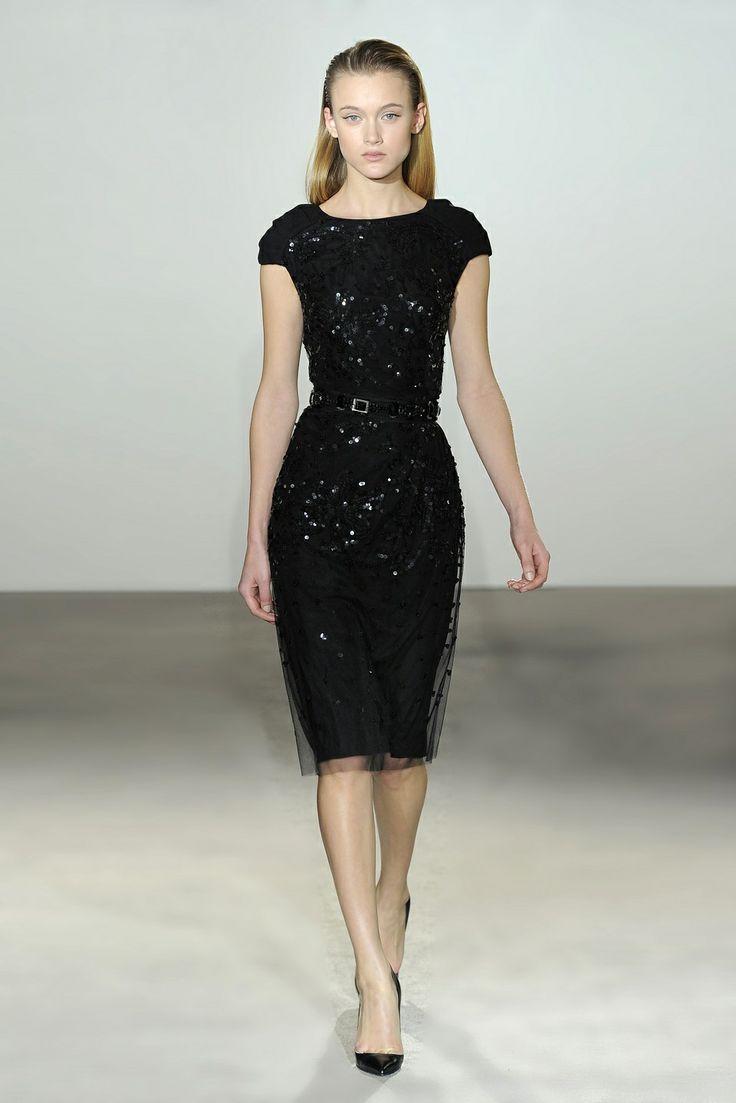 Collette Dinnigan Leather Filigree Wool & Sequins Tuck Sleeve Dress