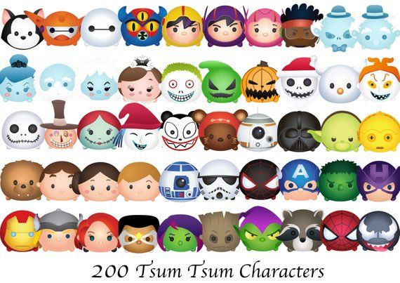 Tsum Tsum Fiesta De Cumpleaños Para Colorear Páginas Libro De: TSUM TSUM. 200 High Resolution Digital Clipart. Disney
