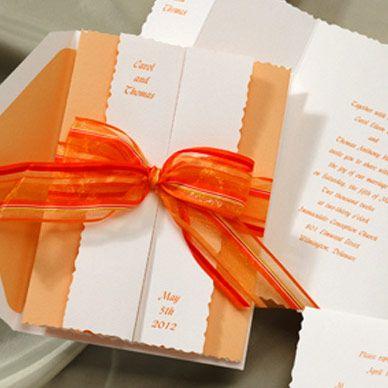 Orange Ribbon Wedding Invitations