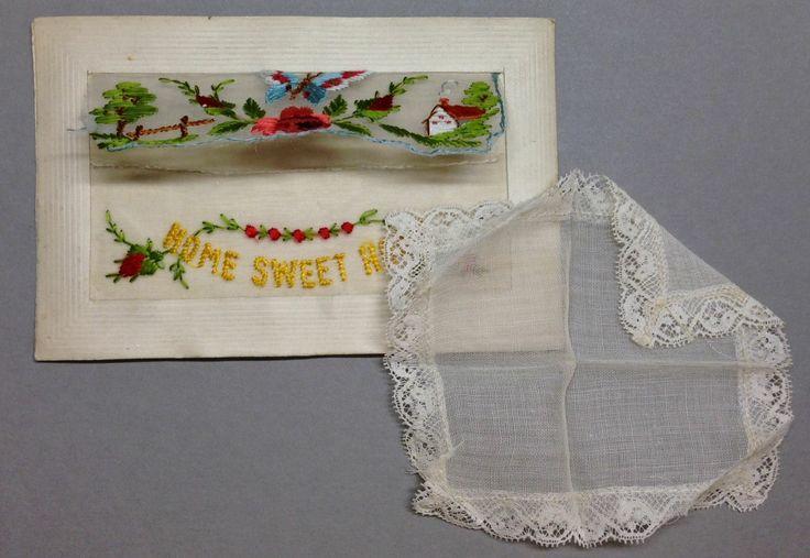 "WW1 Silk Postcard ""Home Sweet Home"" with lace hanky handkerchief insert."