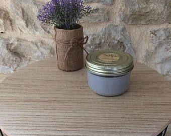 """Bougie décorative - senteur """"lavande"""" - cire de soja - meche de bois - tendance automne-hiver - decoration"""