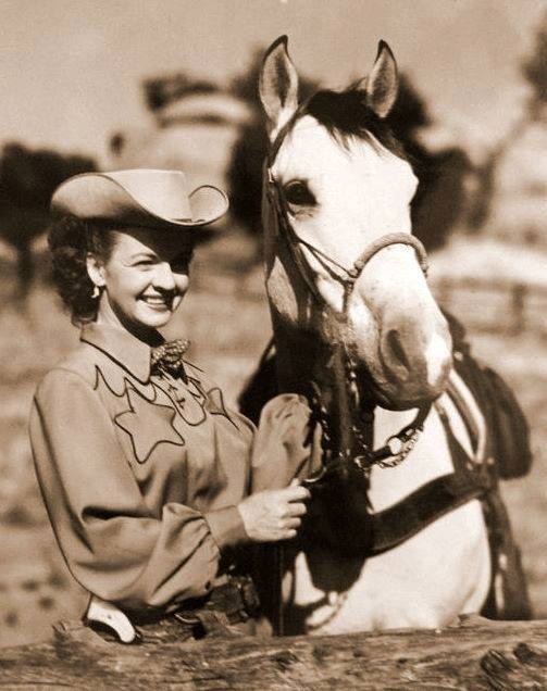 """Dale Evans - I have loved her since I was a kid! She rode horses, sang beautifully, had a gorgeous smile, and was full of womanly wisdom and the grace of God. She wrote a couple of books, I think, & she & her husband, Roy Rogers, sort of defined the """"singing cowboys"""" era for me :)"""