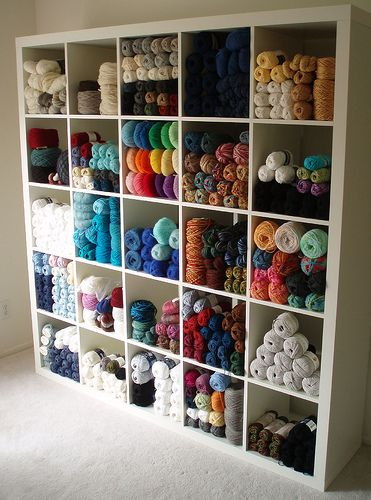 Stash Control: Yarn Organization Ideas via stitchandunwind.com by ALLFREECROCHET. This arrangement from KnitLob's Lair is simply stunning.