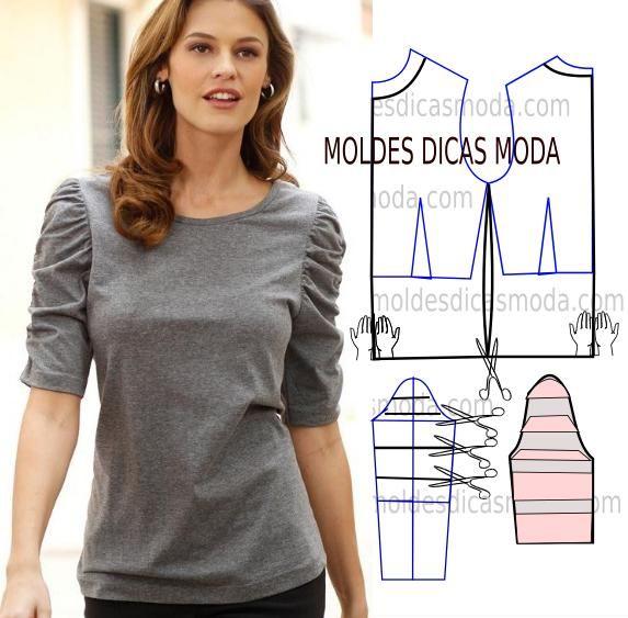 O trabalho que proponho hoje exige atenção na transformação do molde blusa cinza, as mangas são o ponto foco deste modelo, por esse motivo faça a leitura c
