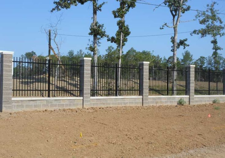 Wrought Iron Fence With Stone Columns Use Cement Blocks