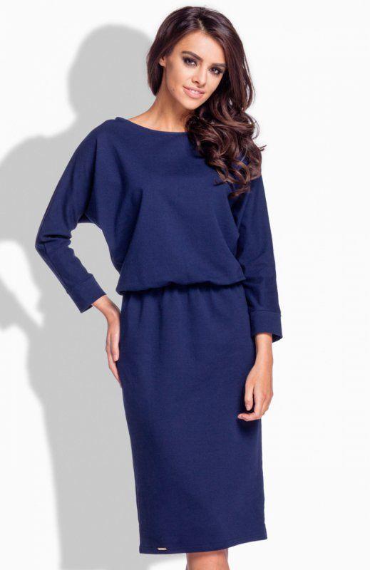 Lemoniade L167 sukienka granatowa Gustowna sukienka, wykonana z wysokiej jakości materiału dresowego, rękaw o długości 7/8