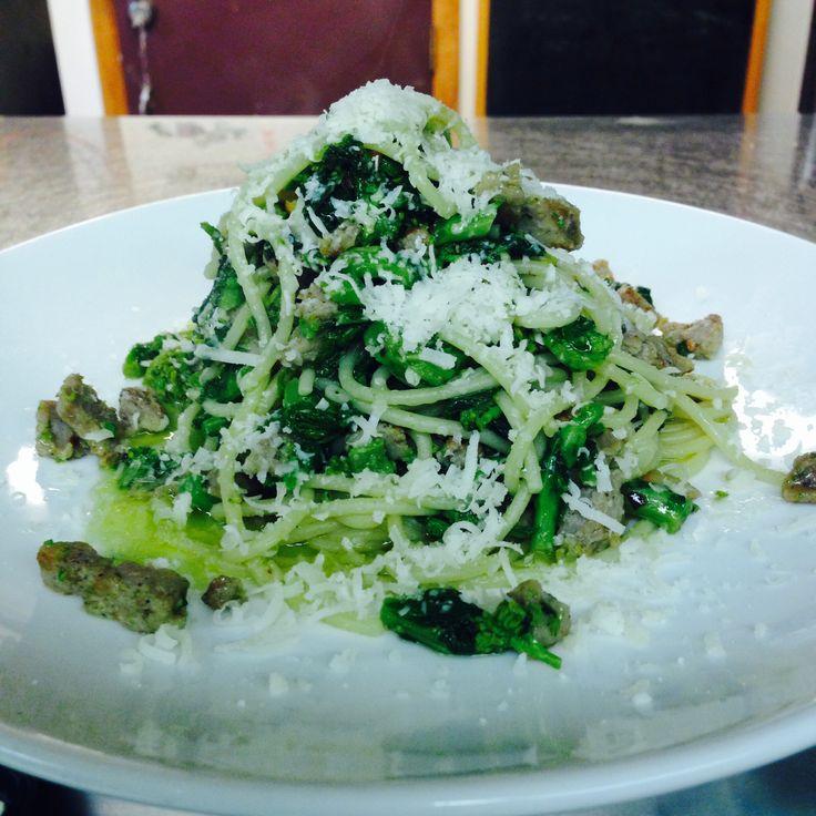 Spaghetti, Broccoli Rabe, Sausage, Pecorino Sardo