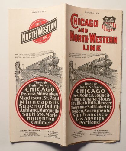Chicago And North Western Line Railway Public Timetable March 1906 Map