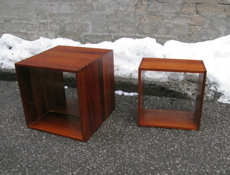 Mod boxes for storage and display. Solid mahogany stackable units