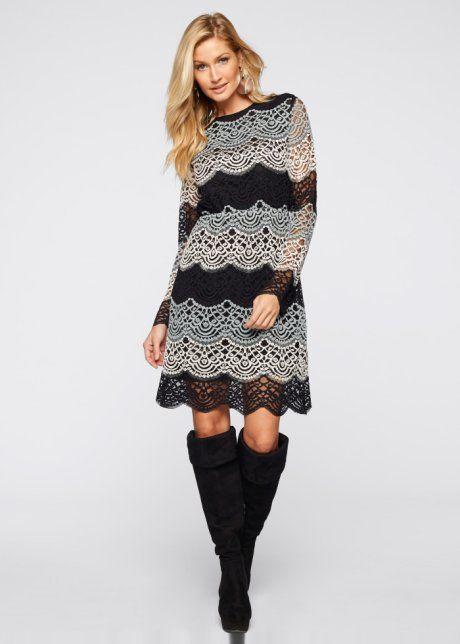 Jurk, BODYFLIRT boutique, lichtgrijs/zwart/wit gedessineerd lange mouwen  Dress longsleeve black white grey lace