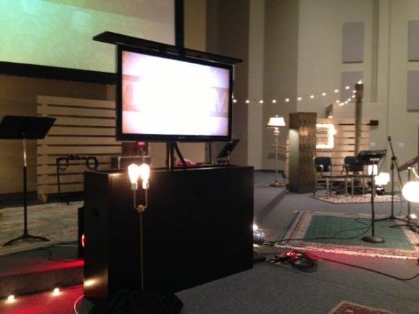 TV cabinet in use on stage at Embrace Church in Sioux Falls, SD. Amazing AND appropriate!