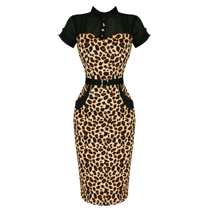 Banned Brown Leopard Rockabilly Pinup Vintage 50s Cocktail Party Pencil Dress
