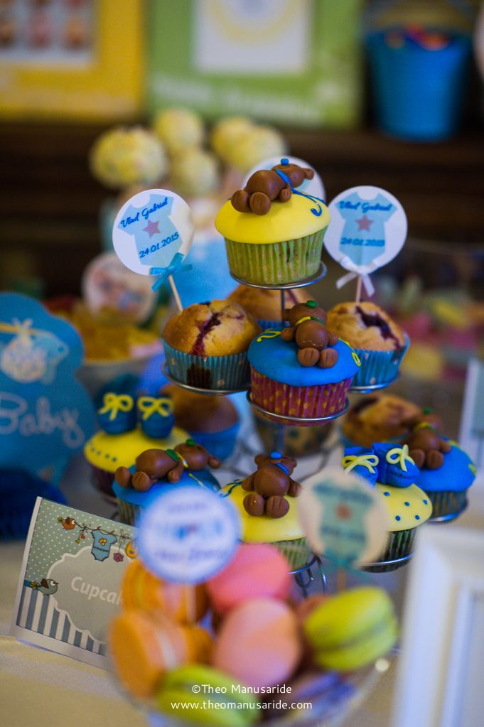 Teddy bear cupcakes&colorful macarons! Photo by Theo Manusaride