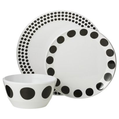 Room Essentials™ Round 12 piece Melamine Dinnerware Set - Black Dots  sc 1 st  Pinterest & 99 best Melamine For Dining images on Pinterest | Melamine ...