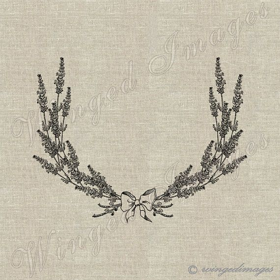 Blank Lavender Laurel Wreath Instant Download Digital Image No.187 Iron-On Transfer to Fabric (burlap, linen) Paper Prints (cards, tags)