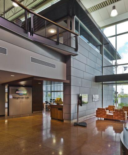 Bobcat Acceleration Facility, Bismarck North Dakota (USA) by Shultz & Associates Architects  Contactor: Innovative Building, Concepts Copyright: Gilbertson Photography #QuartzZinc #USA #Architecture #Interior #InteriorDesign #OfficeBuilding #Cladding #Façade  #Zinc #VMZINC