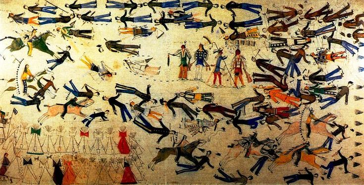 Battle Of Little Big Horn Painting by Kicking Bear. --- Kicking Bear (1846-1904), was an Oglala Lakota who became a band chief of the Miniconjou Lakota Sioux. He fought in several battles with his brother, Flying Hawk and first cousin, Crazy Horse during the War for the Black Hills, including Battle of the Greasy Grass. A gifted artist, he painted his account of the Battle of Greasy Grass at the request of artist Frederic Remington in 1898, more than twenty years after the battle.