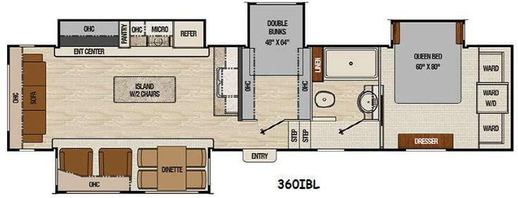 Floor plan coachmen chaparral 360ibl fifth wheel bunk for Bunkhouse floor plans
