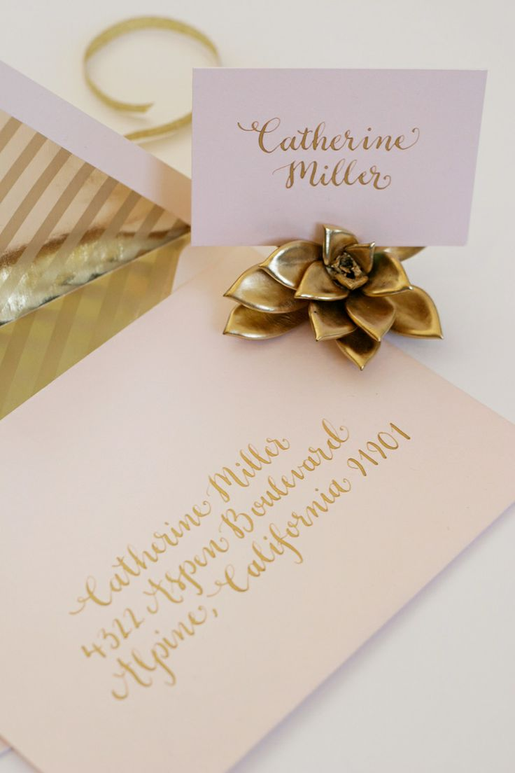 Blush and gold wedding invitation gold calligraphy