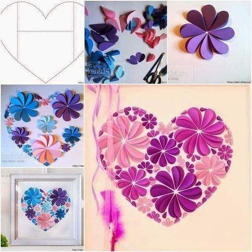 Cheerful Paper Heart Wall Art Designs