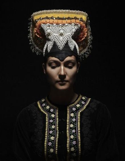 Petra Lajdova Photography 'Slovak Renaissance' - Exhibition of Slovak traditional wedding costumes and headwear. Bonnet from Tekov 1981, Slovakia