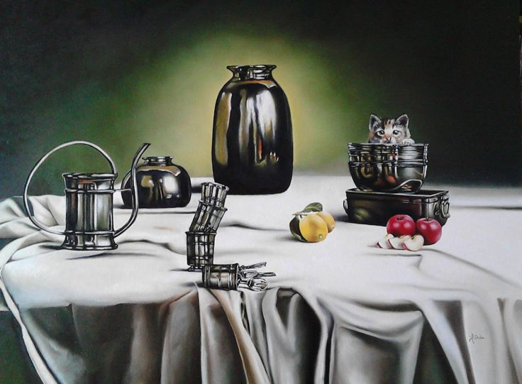Still Life with Cat, 60x80 cm, 2015 Oil painting