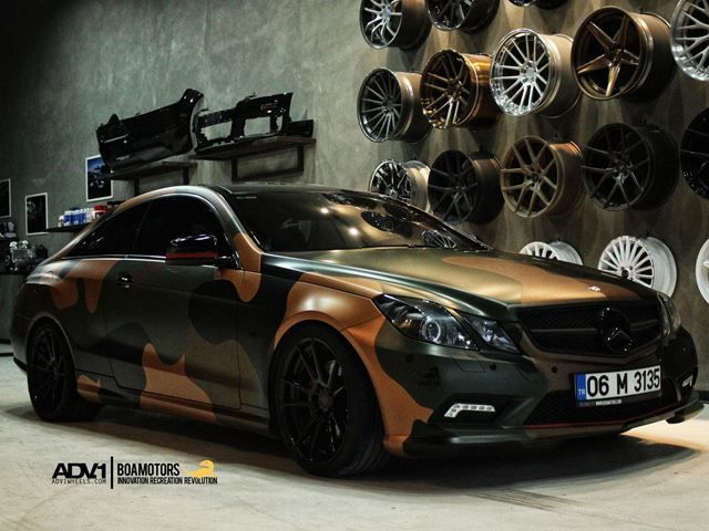 Camo Wrapped Mercedes E Class On Adv 1 Wheels Looks Ready For War Mercedes Mercedes W124