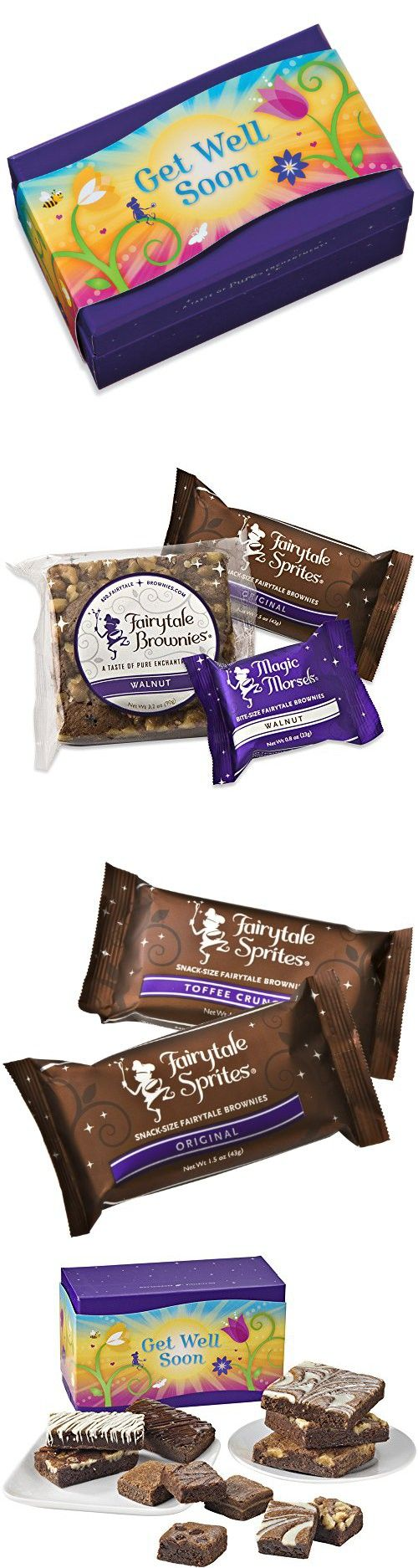 Fairytale Brownies Get Well Treasure Medley Gourmet Food Gift Basket Chocolate Box - Full-Size, Snack-Size and Bite-Size Brownies - 12 Pieces