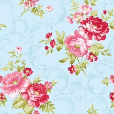 Anitique Blue / Pink - 31171 - Rose - Shabby Chic - Floral - Colemans Wallpaper