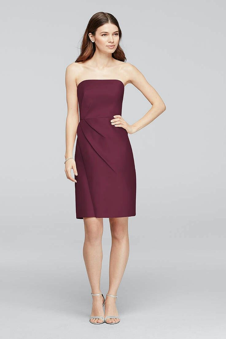 Perfect Architectural side pleating and clean lines give this mikado strapless short bridesmaid dress a chic and structural appeal