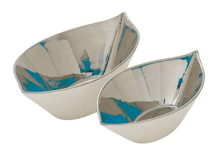 silver and blue ceramic decorative bowls