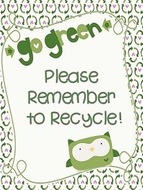 """FREEBIE! Owl Themed Recycling """"Go Green"""" Poster from Lucky Girl on TeachersNotebook.com -  (1 page)"""
