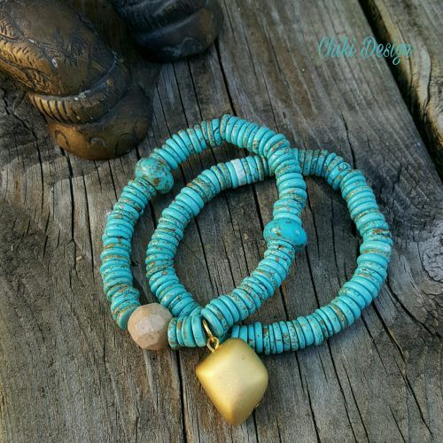 Turquoise and Jade Bracelet - Chiki Custom made unique jewelry by Chiki Design