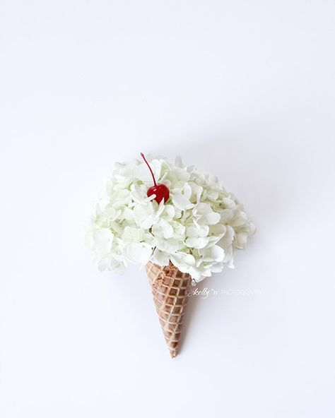 Flower Cone- Cute fluffy hydrangea flower ice cream cone with a cherry on top! Fine Art Print - Professionally printed upon order. Select your size from the drop down menu. My photographs are printed on premium acid-free, archival paper, which has a luster finish and will last a lifetime. Print comes WITHOUT a frame. Framed images are shown for visual display only. Other sizes available - please message me and well work on a custom order, or use the link below. 5x7 $15.00 https://www.ets...