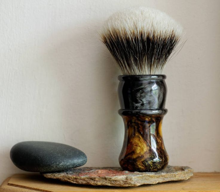 Shaving Brush - Black Olive and Gold Coast Resin Handle Hand-Made with Two Band…