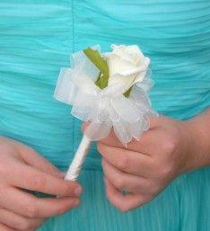 Artificial Ivory Foam Rose Childrens Mini Wedding Wand