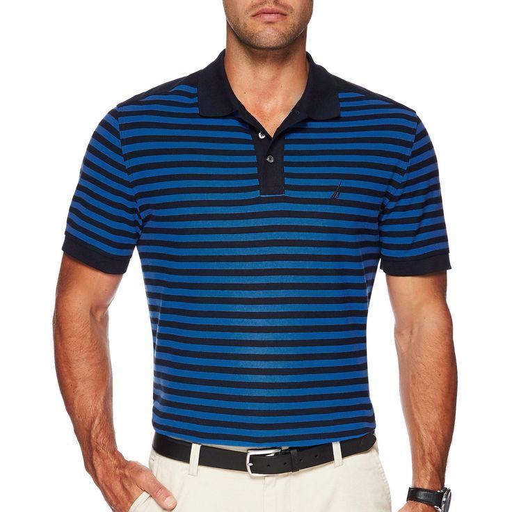 NAUTICA ss perf stripe polo in Blue