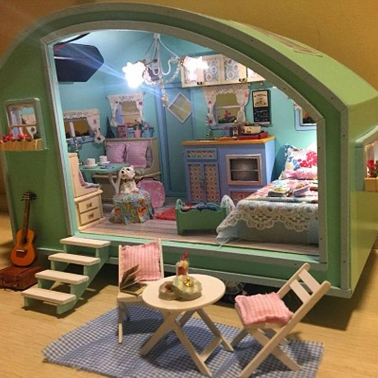 DIY Wooden Dollhouse Miniature Kit Doll house LED+Music+Voice Control Sale - Banggood.com