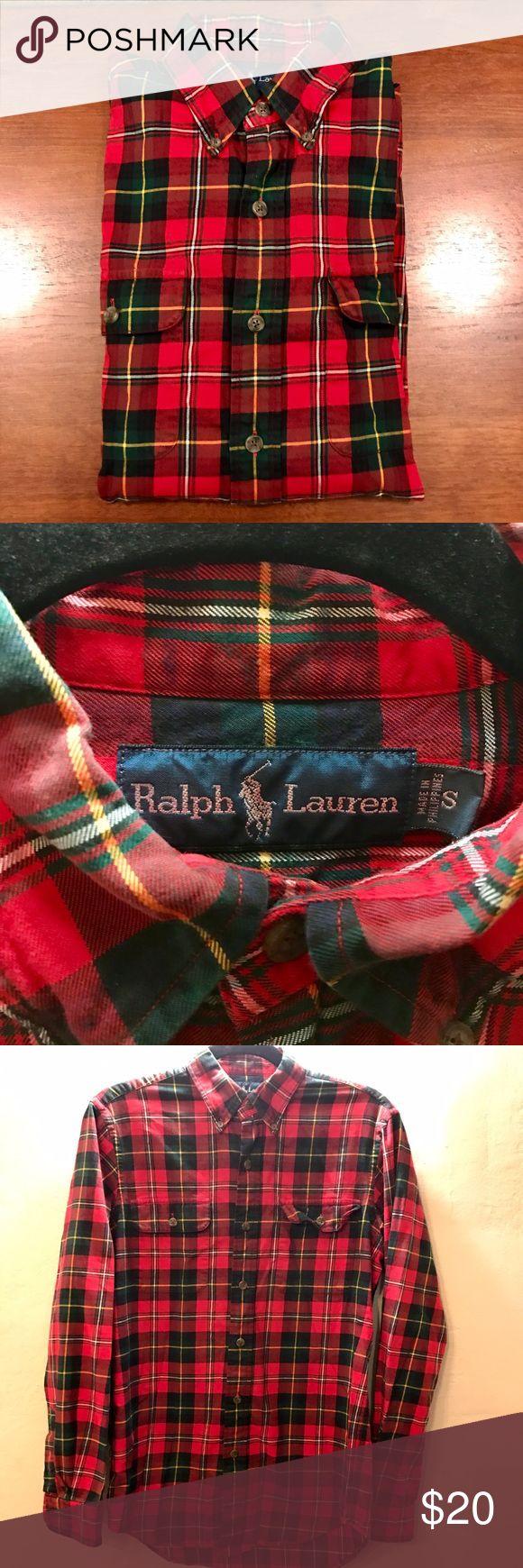 Ralph Lauren Plaid Shirt | Men's Small Gently worn, no rips or stains. Authentic Ralph Lauren Men's plaid shirt in Small. Can be worn as Women's Medium. Ralph Lauren Shirts Casual Button Down Shirts