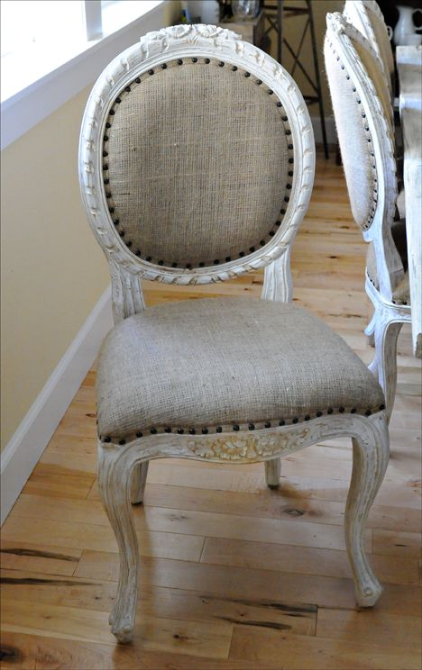 Chalk Paint Chairs with Burlap