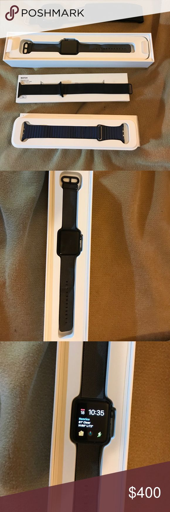 Apple Watch Space Grey Aluminum Series 2 42mm This sale includes the following: Apple Watch Space Grey Aluminum series 2 with Apple black and grey nylon, Apple navy blue leather loop band, 3rd party black Milanese loop band, Apple Apple Watch charging cable, TwelveSouth ActionSleeve, Apple 5W USB wall adapter, & AppleCare+ (includes two incidents for damage and 24/7 support). These items have been used previously. Activation Lock has been removed i.e. this isn't locked to any Apple ID. Also…
