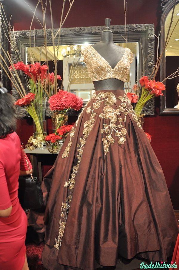Manish Malhotra - Chocolate Brown Lehenga Skirt with Gold Blouse - Vogue Wedding Show 2015