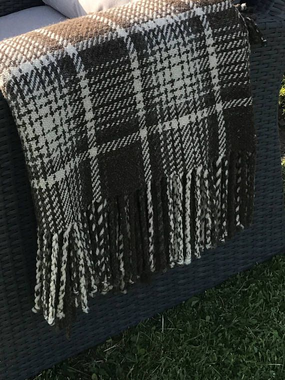 Sheep wool blanket Scandinavian plaid Scandinavian blanket