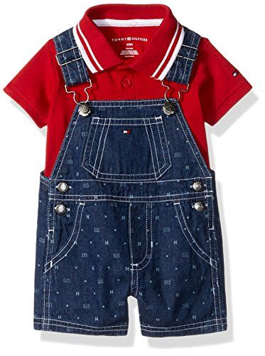 Tommy Hilfiger Boys' Baby 2 Pieces Shortall Set-Printed Denim, Blue, 3/6M Baby Boy Clothes