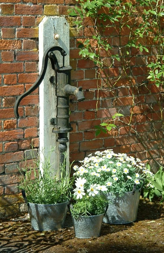 Old hand pump by three galvanized planters- I coul