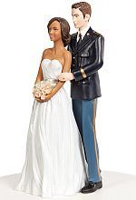 Army Wedding Cake Topper - Interracial African American Bride and Caucasian Groom